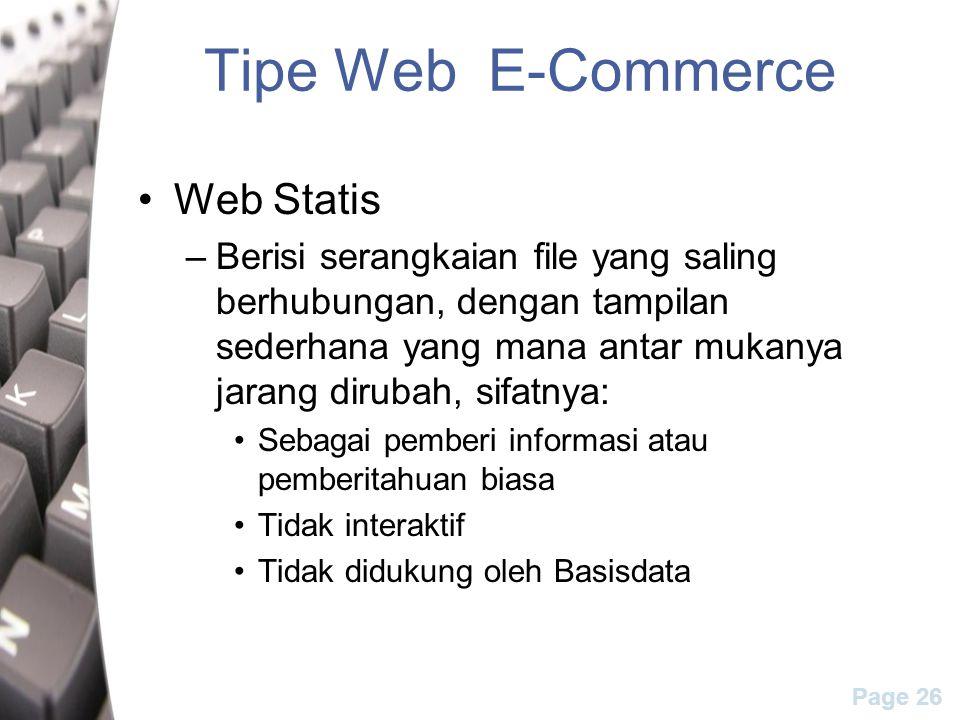Tipe Web E-Commerce Web Statis