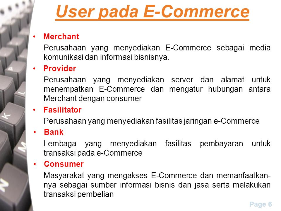 User pada E-Commerce Merchant