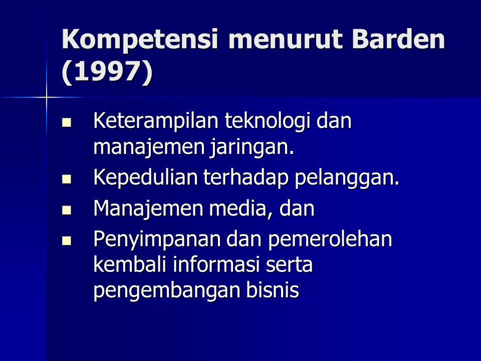 Kompetensi menurut Barden (1997)