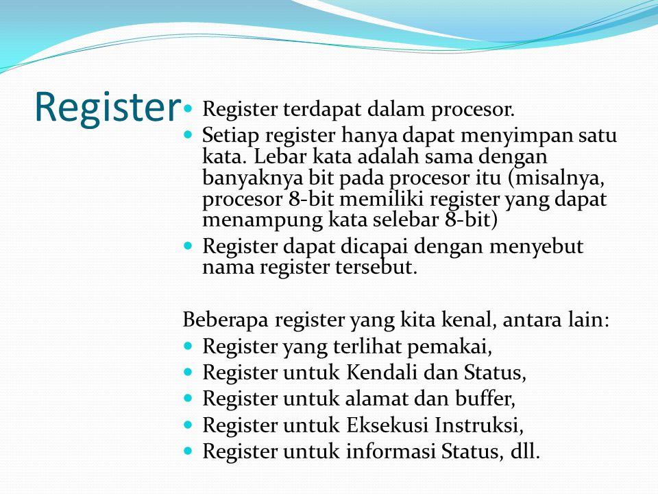 Register Register terdapat dalam procesor.