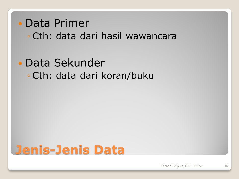 Jenis-Jenis Data Data Primer Data Sekunder