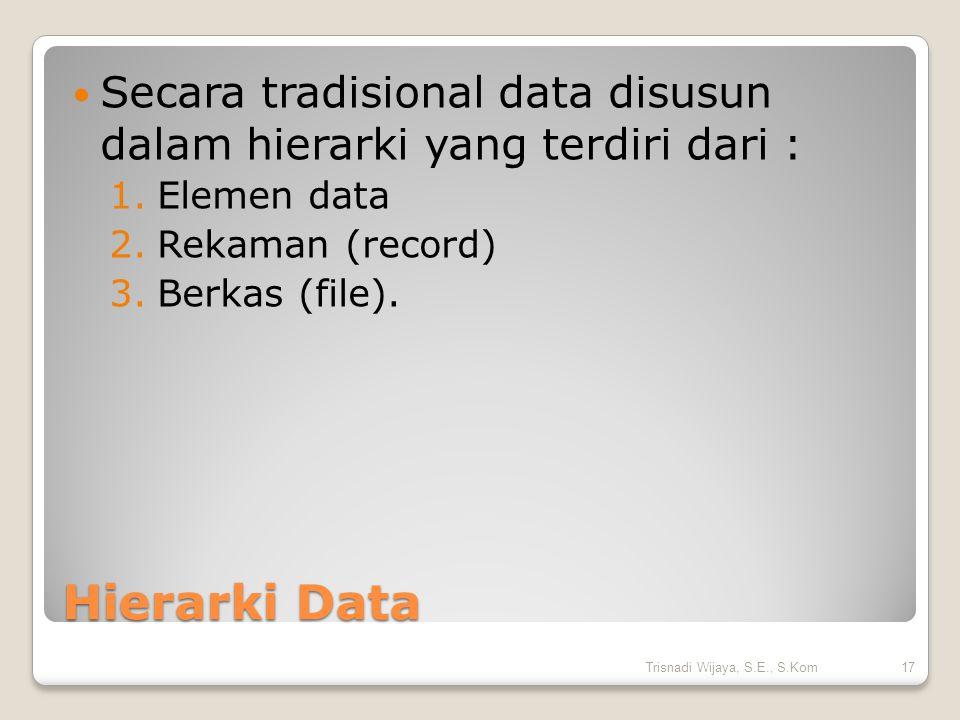 Secara tradisional data disusun dalam hierarki yang terdiri dari :