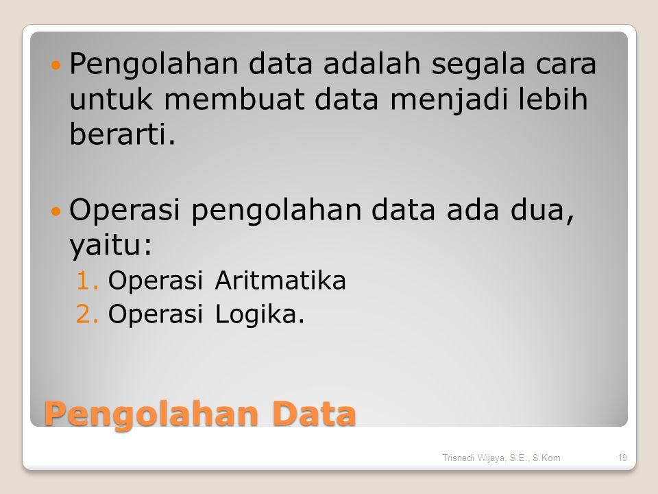 Pengolahan data adalah segala cara untuk membuat data menjadi lebih berarti.