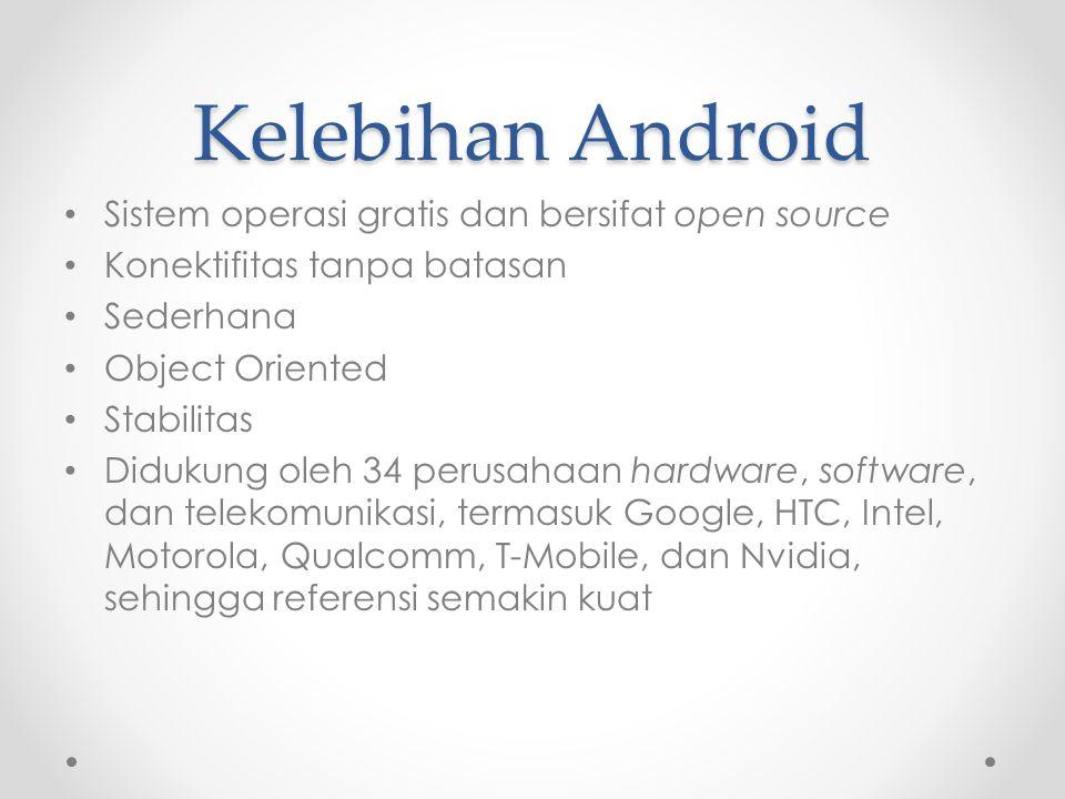 Kelebihan Android Sistem operasi gratis dan bersifat open source