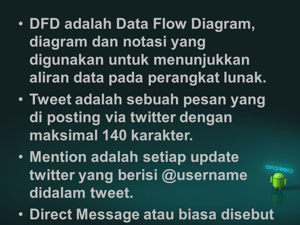 DFD adalah Data Flow Diagram, diagram dan notasi yang digunakan untuk menunjukkan aliran data pada perangkat lunak.