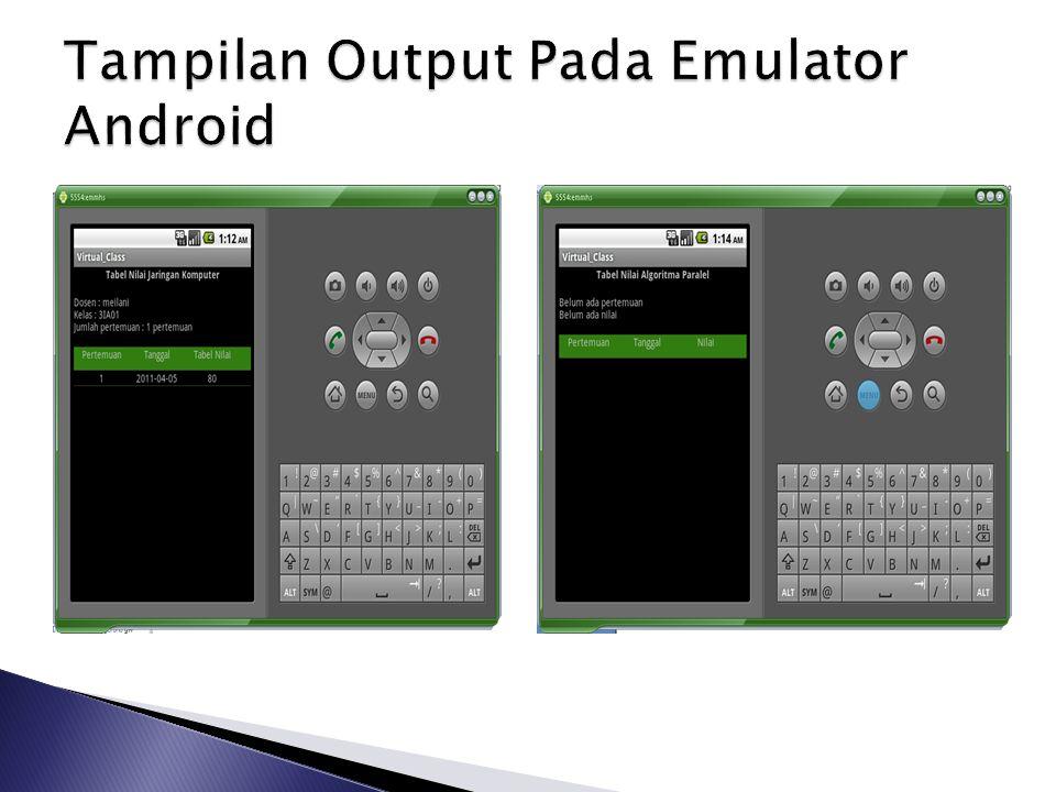 Tampilan Output Pada Emulator Android
