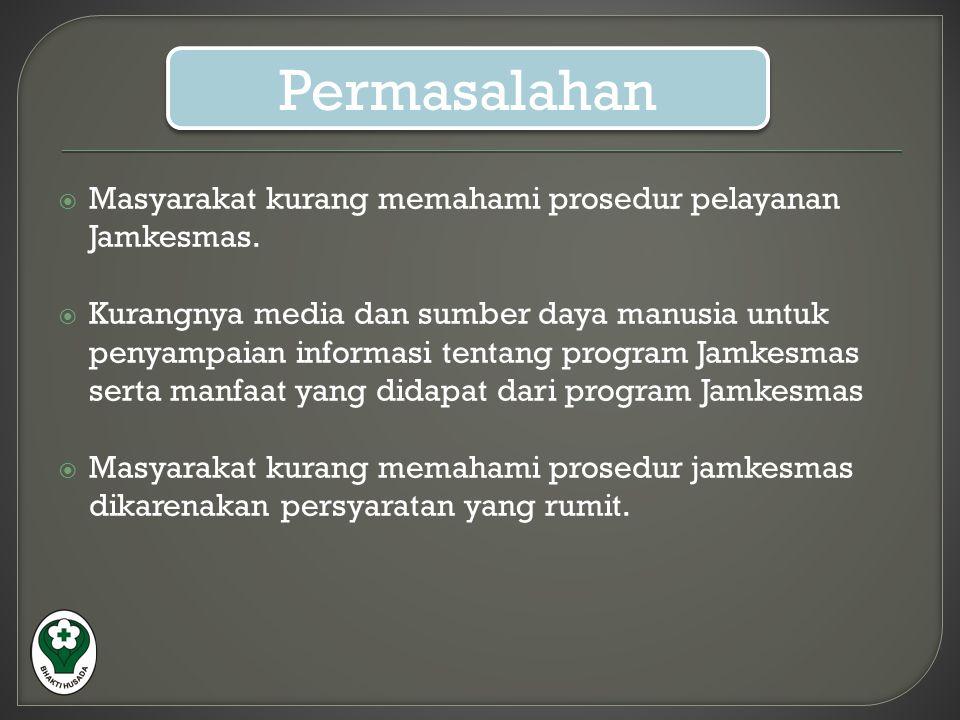 Permasalahan Masyarakat kurang memahami prosedur pelayanan Jamkesmas.