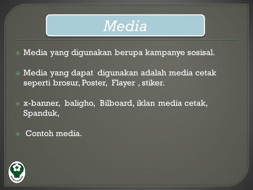 Media Media yang digunakan berupa kampanye sosisal.