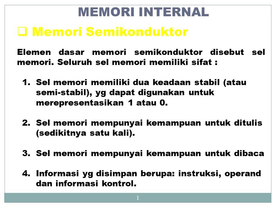 MEMORI INTERNAL Memori Semikonduktor