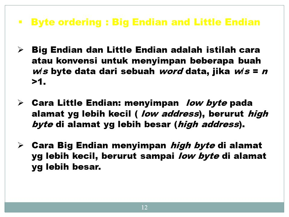 Byte ordering : Big Endian and Little Endian