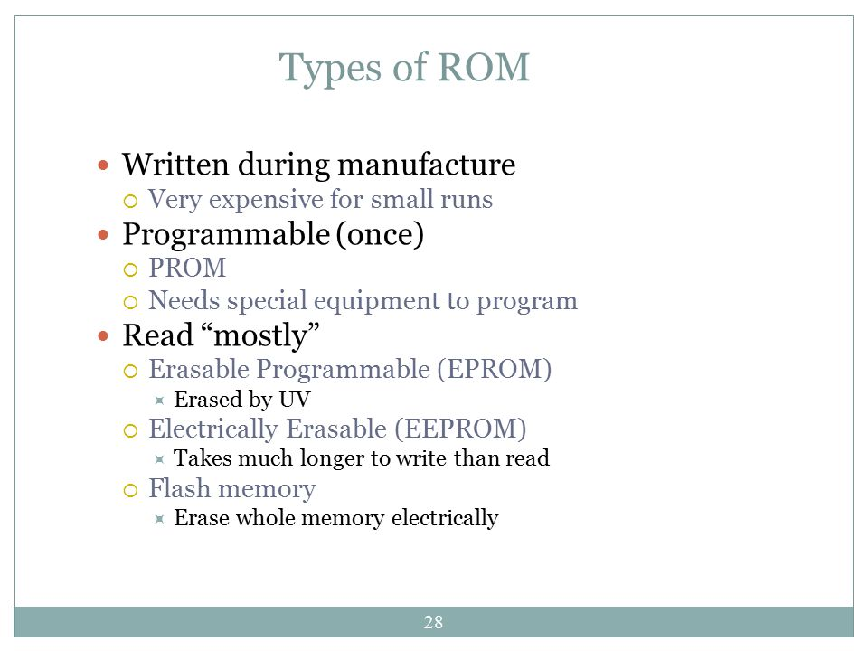 Types of ROM Written during manufacture Programmable (once)