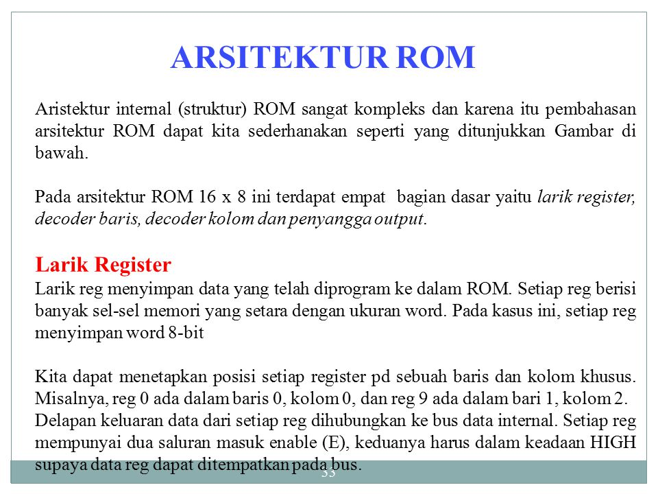 ARSITEKTUR ROM Larik Register