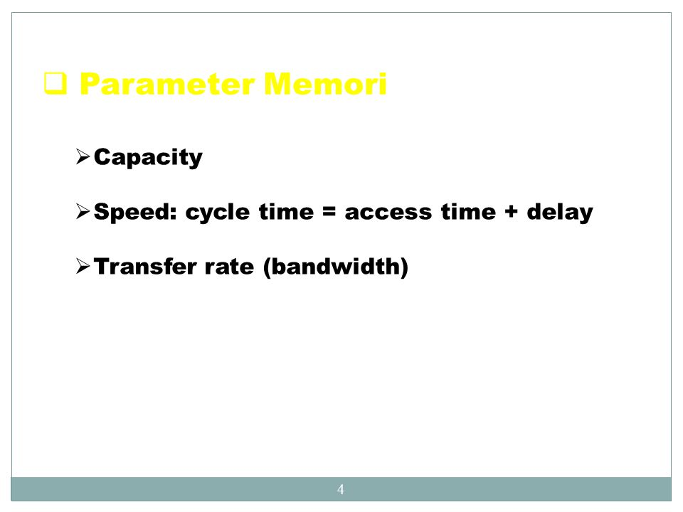Parameter Memori Capacity Speed: cycle time = access time + delay