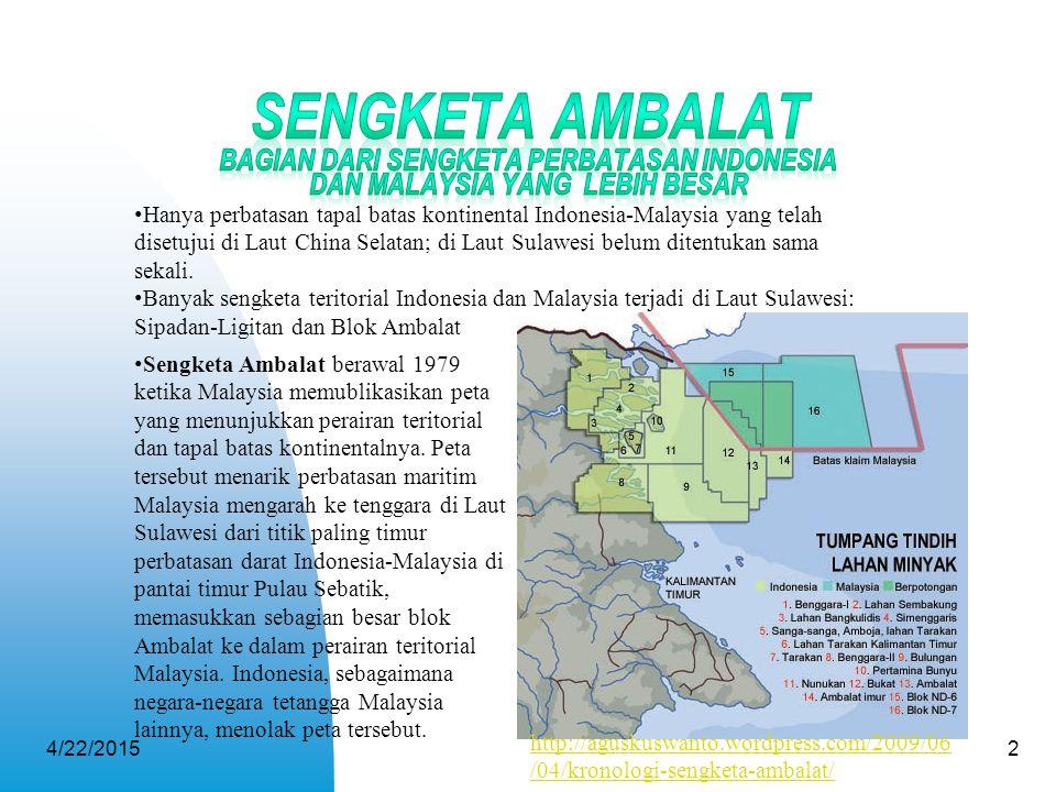 Sengketa Ambalat Bagian dari Sengketa Perbatasan Indonesia dan Malaysia yang Lebih Besar