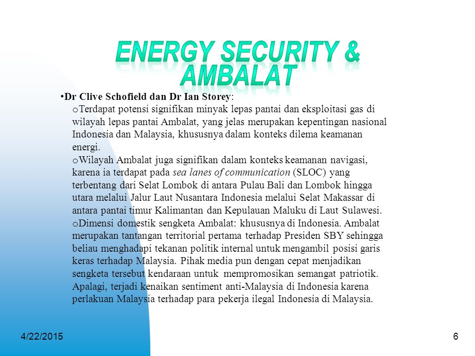 Energy Security & Ambalat