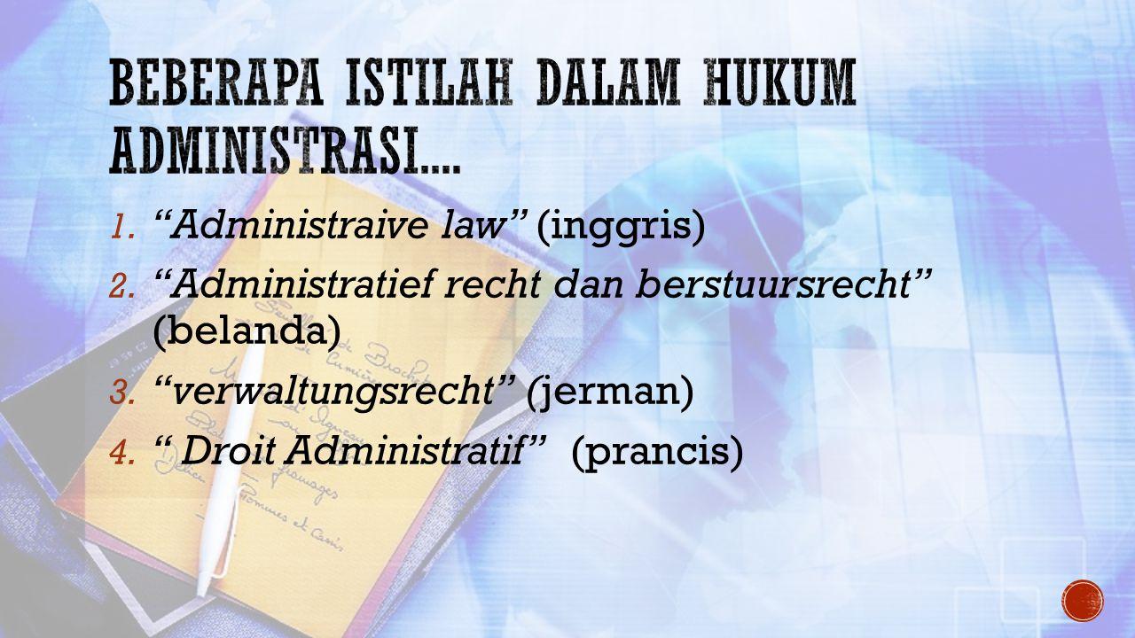 Beberapa istilah dalam hukum administrasi....