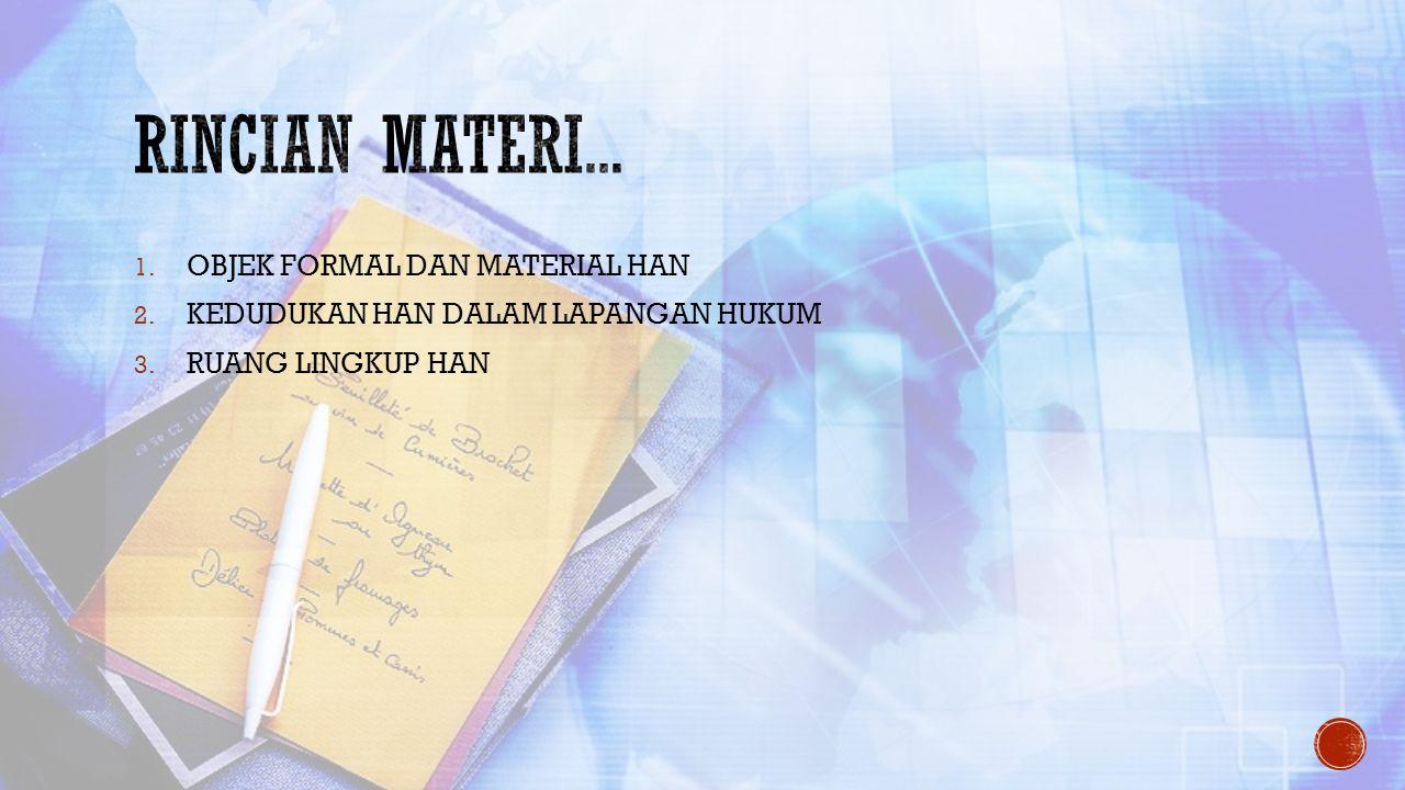 Rincian materi... OBJEK FORMAL DAN MATERIAL HAN