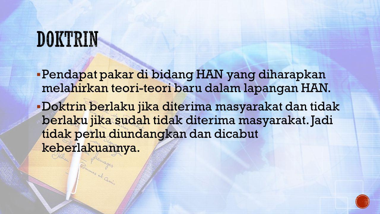 Doktrin Pendapat pakar di bidang HAN yang diharapkan melahirkan teori-teori baru dalam lapangan HAN.