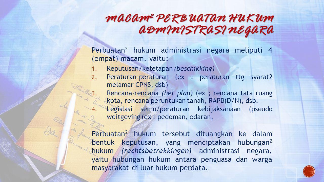 Macam2 Perbuatan hukum Administrasi Negara