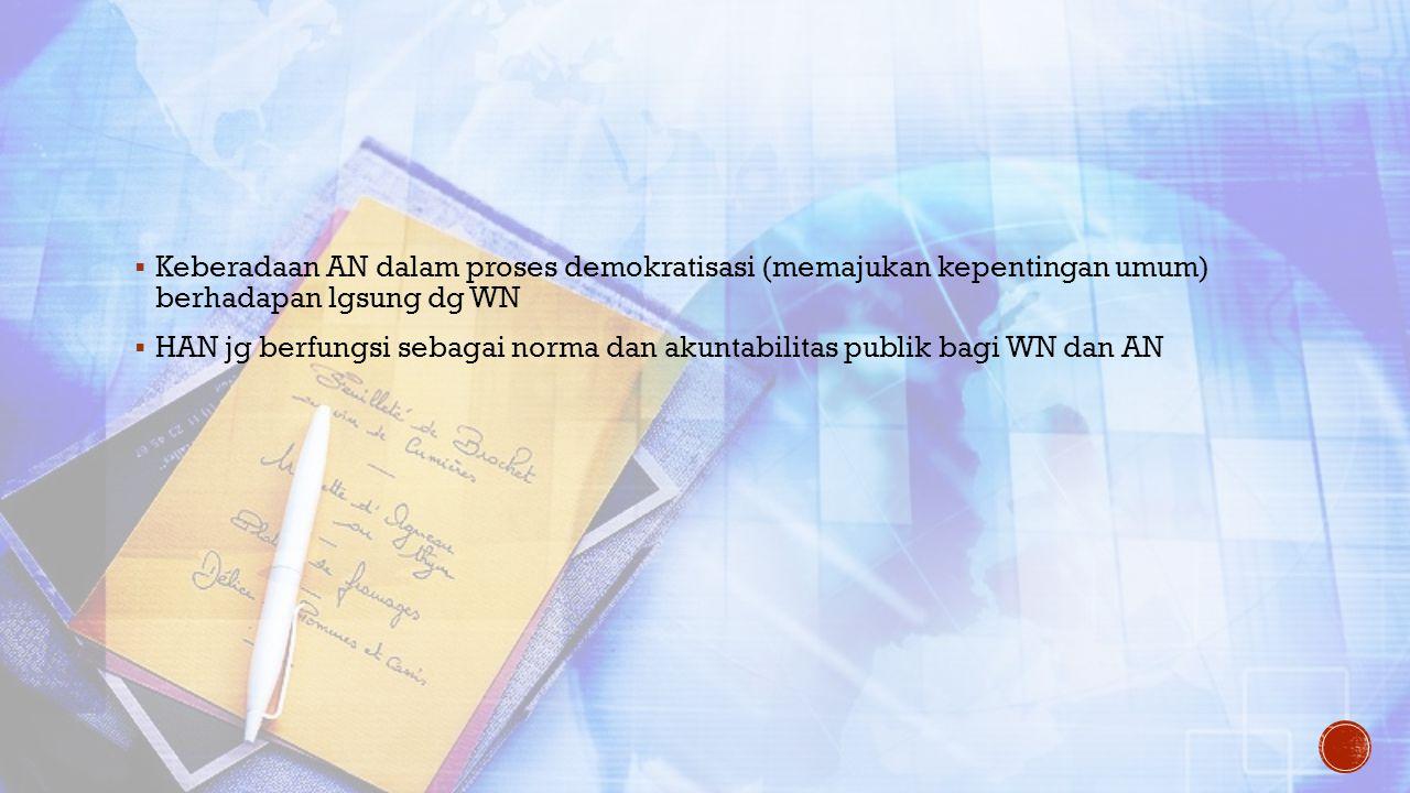 Keberadaan AN dalam proses demokratisasi (memajukan kepentingan umum) berhadapan lgsung dg WN