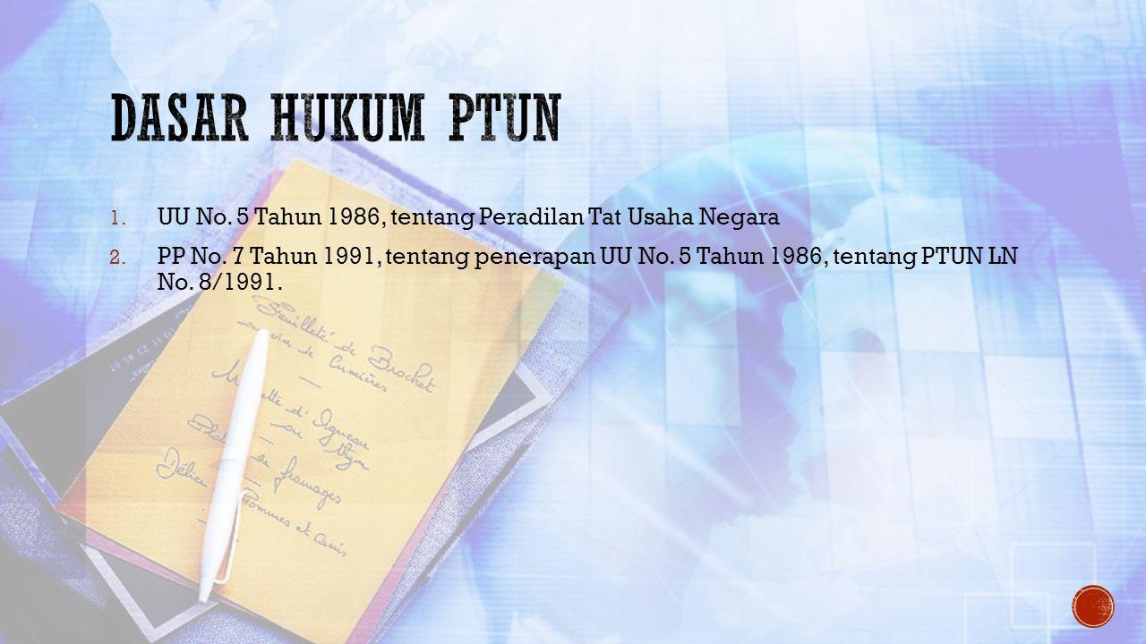 Dasar hukum PTUN UU No. 5 Tahun 1986, tentang Peradilan Tat Usaha Negara.