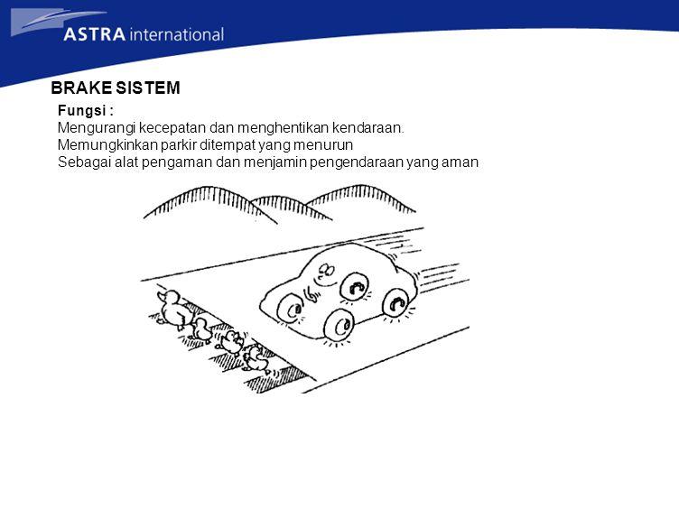 BRAKE SISTEM Fungsi : Mengurangi kecepatan dan menghentikan kendaraan.