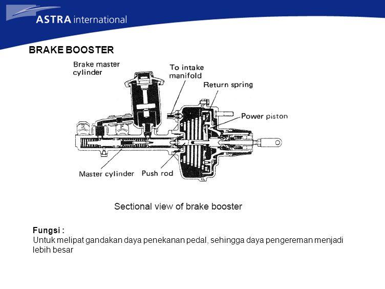 BRAKE BOOSTER Fungsi : Untuk melipat gandakan daya penekanan pedal, sehingga daya pengereman menjadi lebih besar.