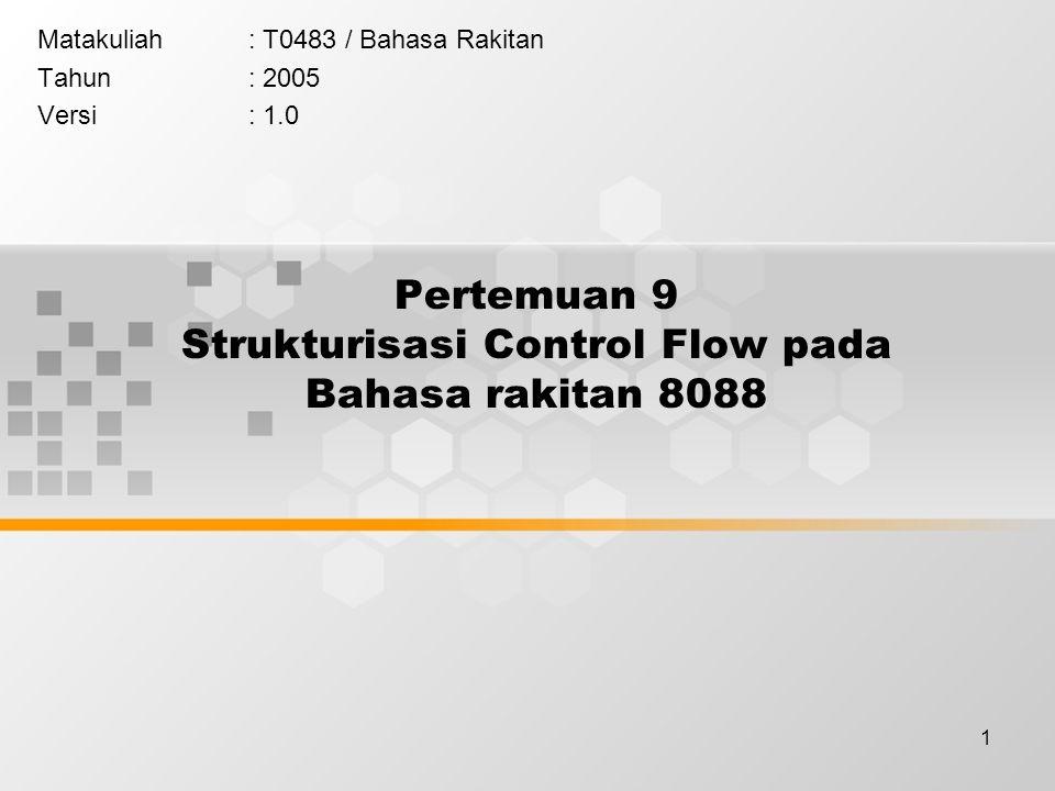 Pertemuan 9 Strukturisasi Control Flow pada Bahasa rakitan 8088