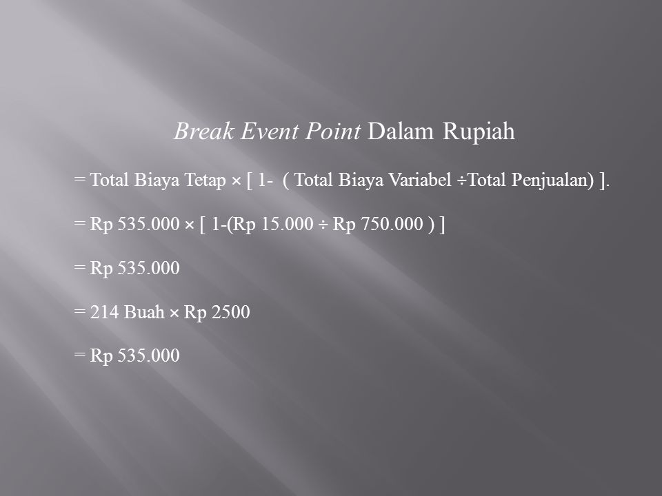 Break Event Point Dalam Rupiah