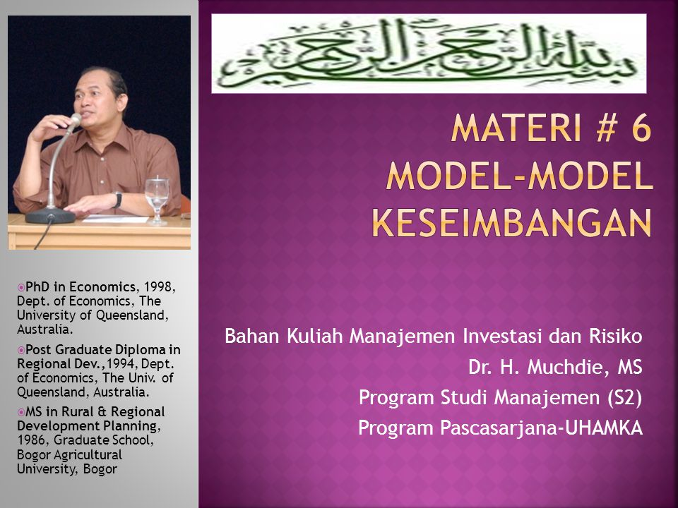 MATERI # 6 model-model keseimbangan