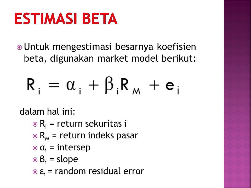 ESTIMASI BETA Untuk mengestimasi besarnya koefisien beta, digunakan market model berikut: dalam hal ini: