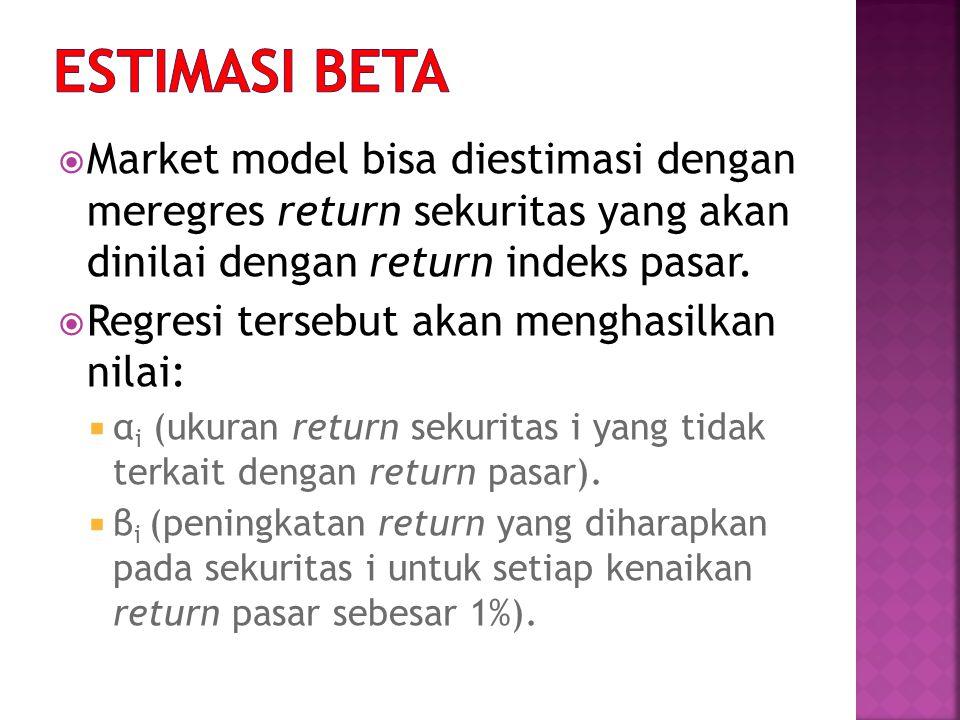 ESTIMASI BETA Market model bisa diestimasi dengan meregres return sekuritas yang akan dinilai dengan return indeks pasar.