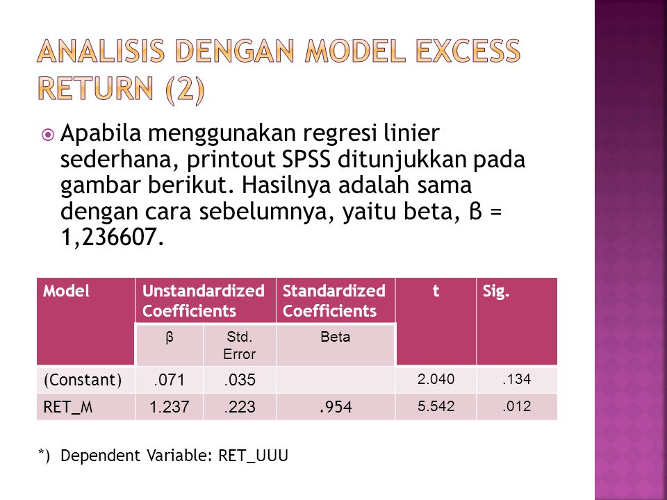 ANALISIS DENGAN MODEL EXCESS RETURN (2)