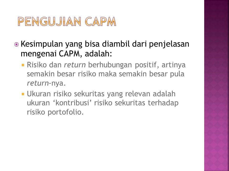 PENGUJIAN CAPM Kesimpulan yang bisa diambil dari penjelasan mengenai CAPM, adalah: