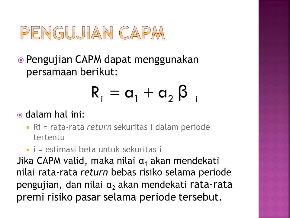 PENGUJIAN CAPM Pengujian CAPM dapat menggunakan persamaan berikut: