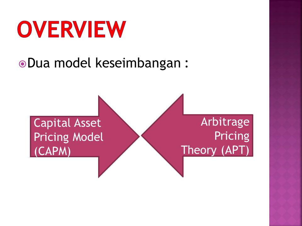 OVERVIEW Dua model keseimbangan : Arbitrage Capital Asset Pricing