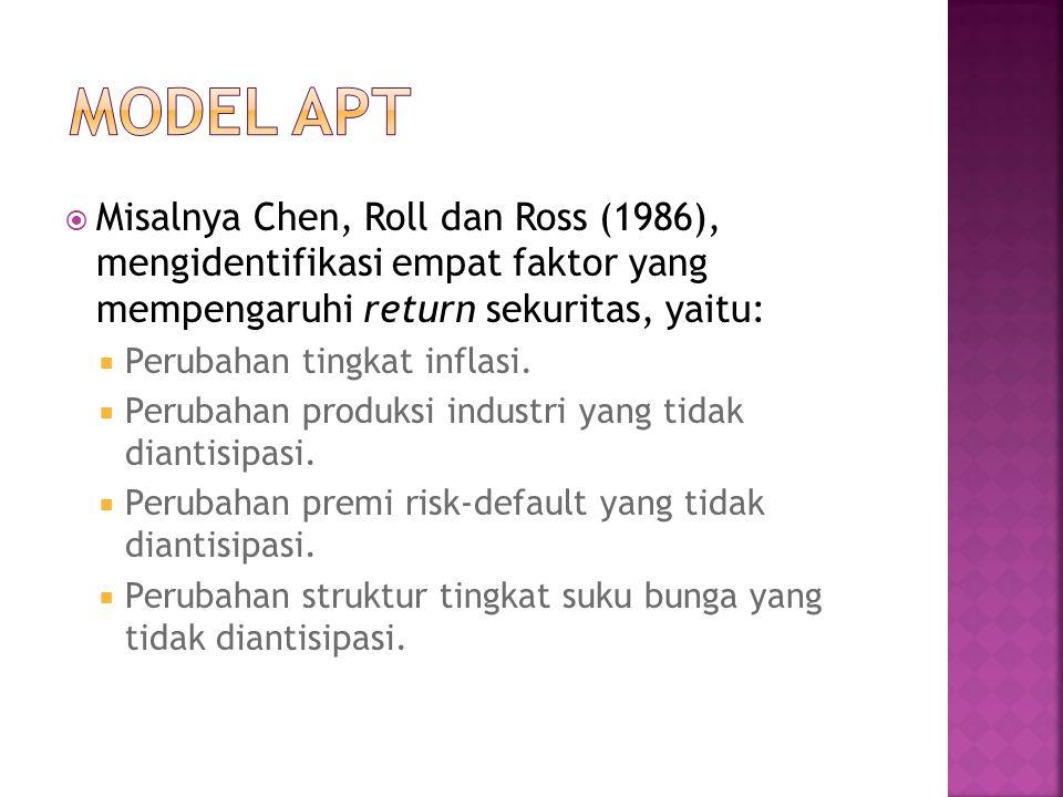 MODEL APT Misalnya Chen, Roll dan Ross (1986), mengidentifikasi empat faktor yang mempengaruhi return sekuritas, yaitu:
