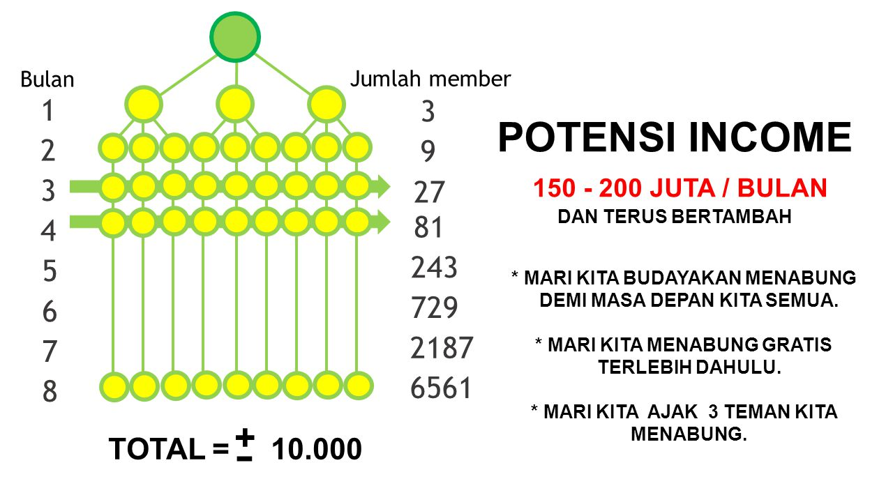 + - POTENSI INCOME 150 - 200 JUTA / BULAN 1 3 2 9 3 27 81 4 243 5 729
