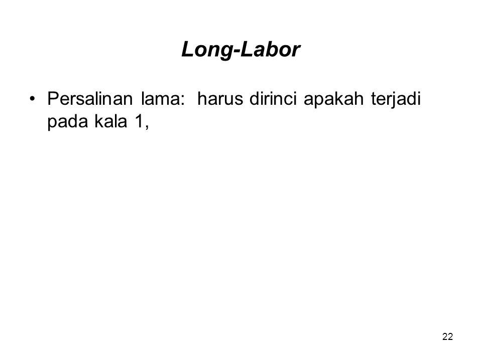 Long-Labor Persalinan lama: harus dirinci apakah terjadi pada kala 1,