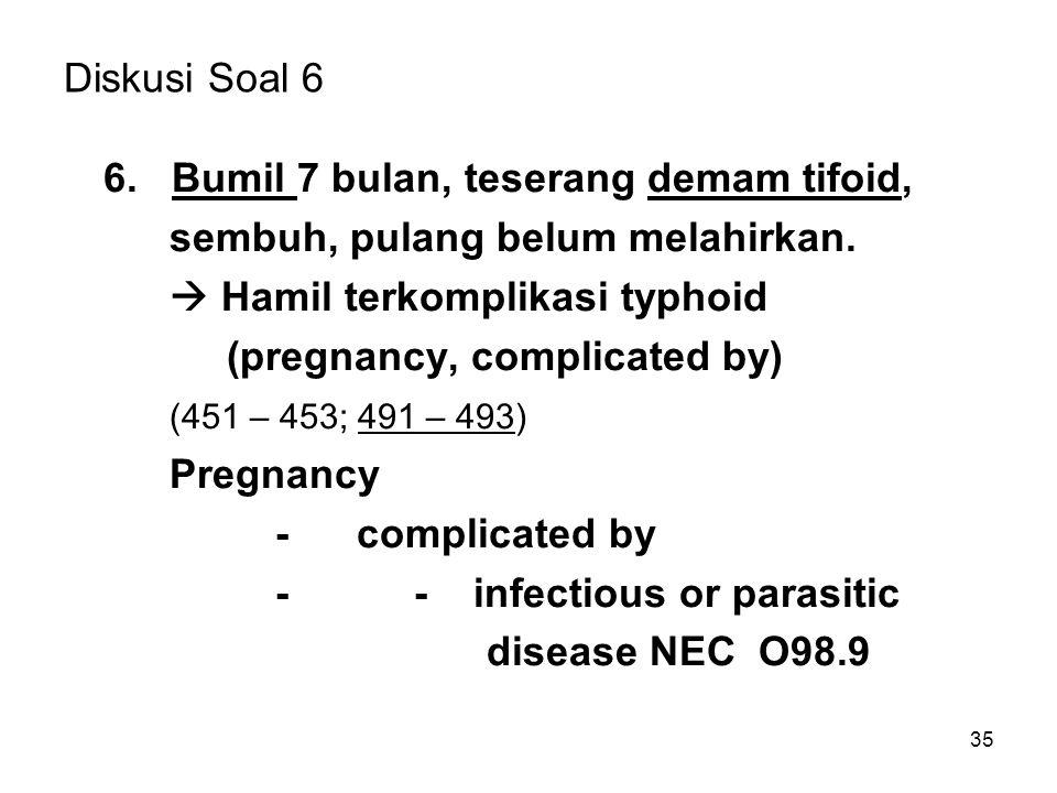 Diskusi Soal 6 6. Bumil 7 bulan, teserang demam tifoid, sembuh, pulang belum melahirkan.  Hamil terkomplikasi typhoid.