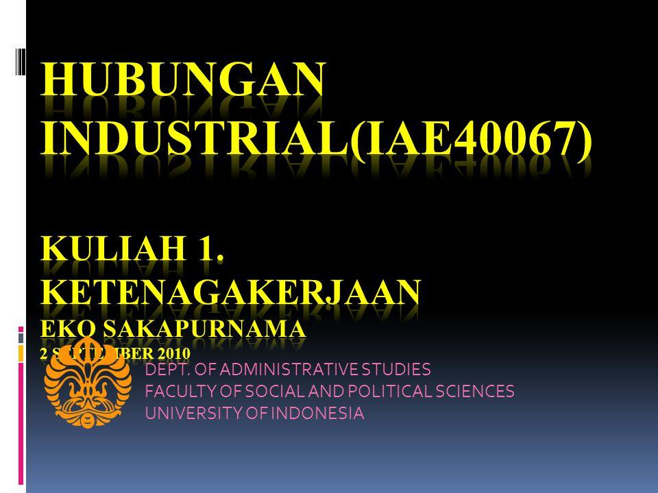 HUBUNGAN INDUSTRIAL(IAE40067) Kuliah 1