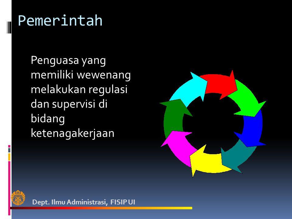 Pemerintah Penguasa yang memiliki wewenang melakukan regulasi dan supervisi di bidang ketenagakerjaan.