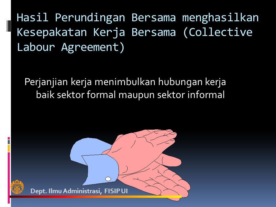 Hasil Perundingan Bersama menghasilkan Kesepakatan Kerja Bersama (Collective Labour Agreement)