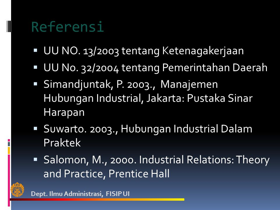 Referensi UU NO. 13/2003 tentang Ketenagakerjaan