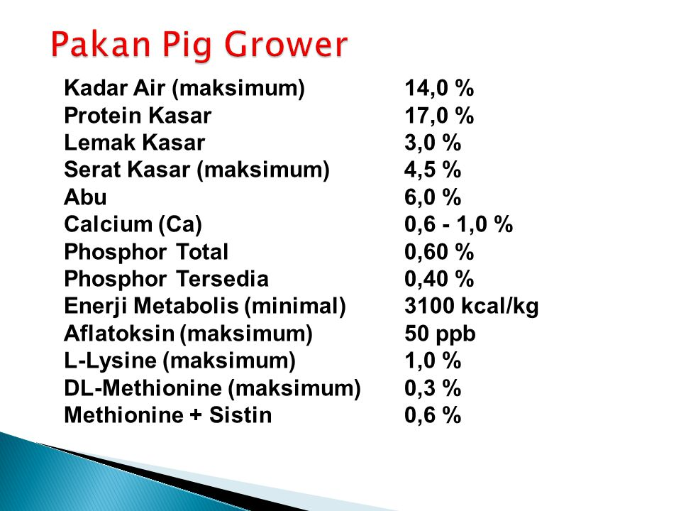 Pakan Pig Grower Kadar Air (maksimum) 14,0 % Protein Kasar 17,0 %