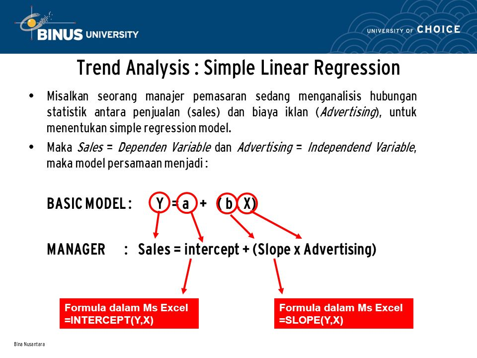 Trend Analysis : Simple Linear Regression