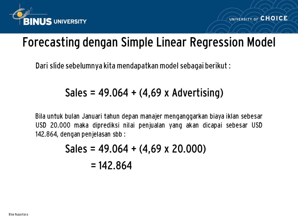 Forecasting dengan Simple Linear Regression Model