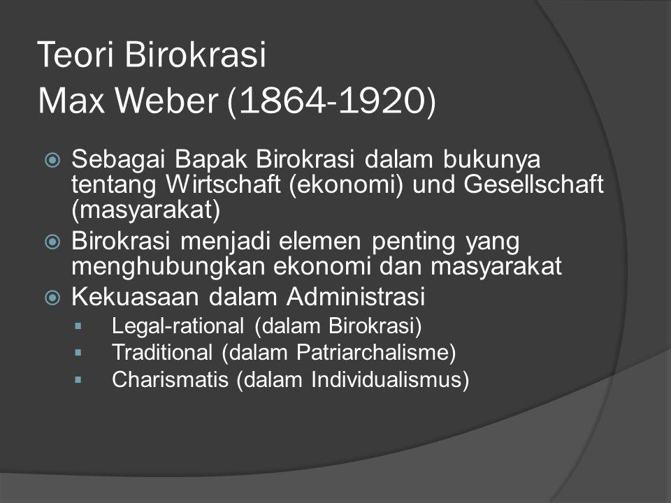 Teori Birokrasi Max Weber (1864-1920)