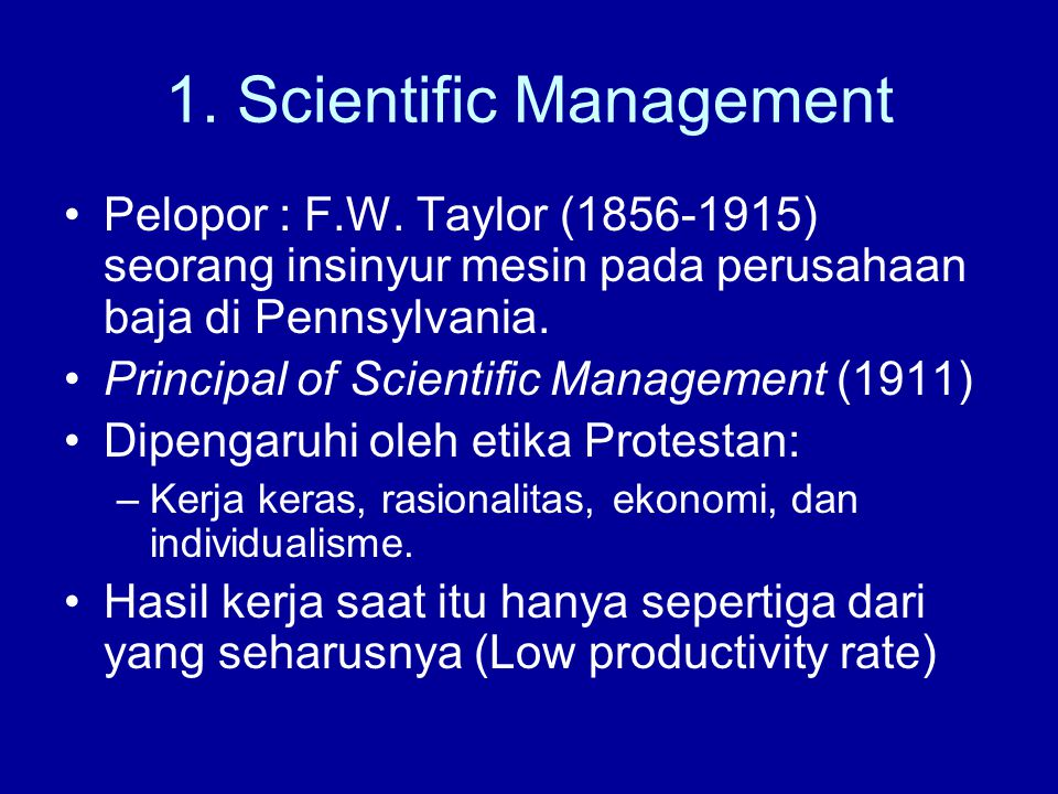 1. Scientific Management