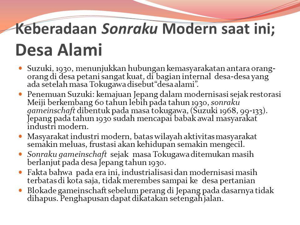 Keberadaan Sonraku Modern saat ini; Desa Alami